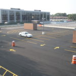 finished asphalt with line striping